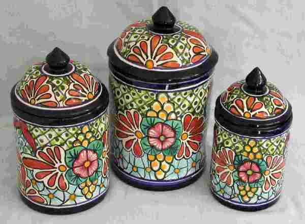 Talavera 3 Piece Canister Set Mexican Connexion For Pottery