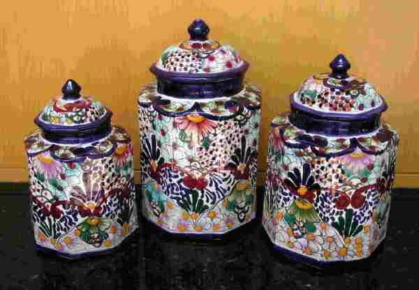 Talavera Canister Set Large Mexican Connexion For Pottery